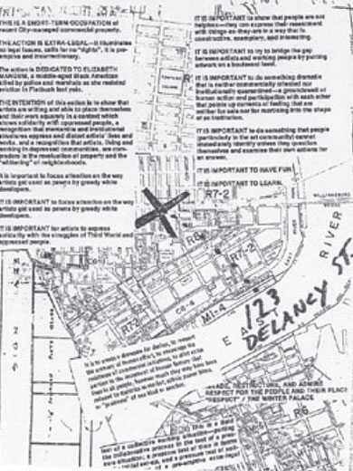 Flyer-map for The Real Estate Show, direct action, 1979