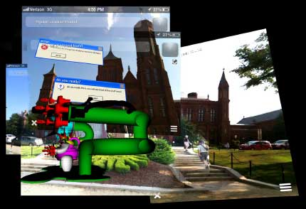 AR spatial intervention images and text at side of Smithsonian
